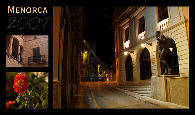 "A small ""postcard"" created from some photos I took. Top left is Ciutadella, bottom left is a flower outside the apartment we stayed in, and the main picture is the theatre in Mahon (at night)."