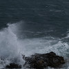 Fornells - strong winds whipping up the sea. Another sign that the weather was not looking too promising