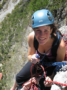 Cath Belaying on Space Boys our First climb In Mexico 12 Pitches