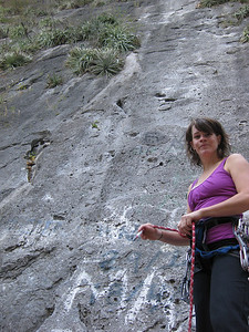 Cath at the start of Space Boys our First climb In Mexico 12 Pitches