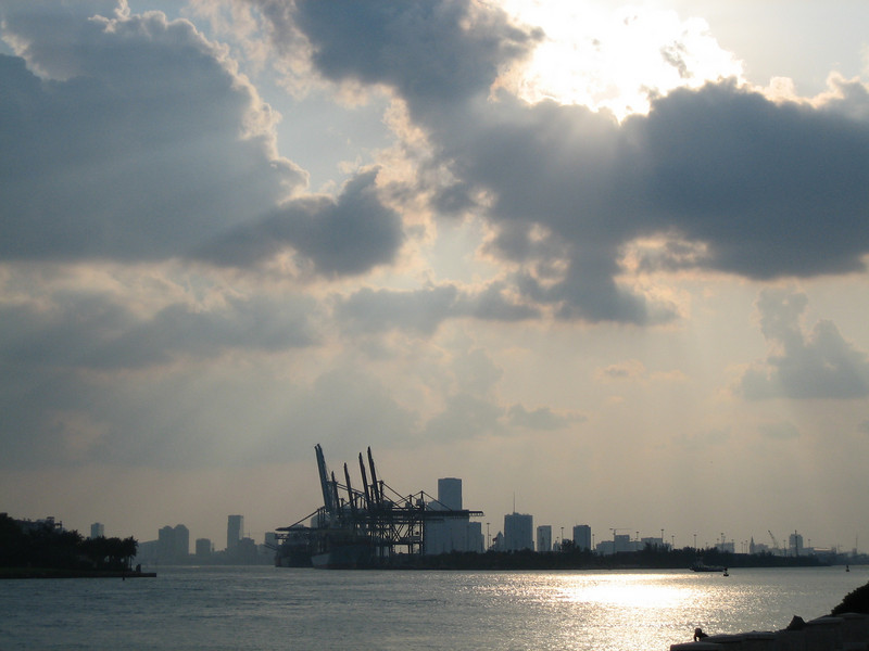 A view of Miami from the southern tip of South Beach. The docks are visible in the foreground.