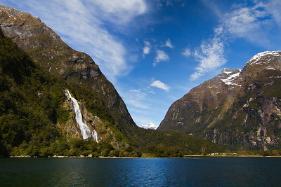 Milford Sound, surrounded by high mountains and spectacular waterfalls, Fiordland, New Zealand