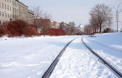 Railway tracks in the snow