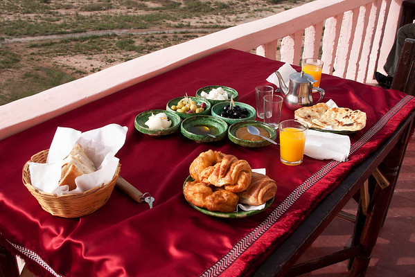 Breakfast on the terrace of Kasbah Itran, one of the nicest places to stay.