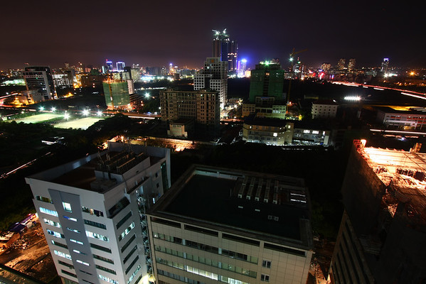 Night view over offices buildings.