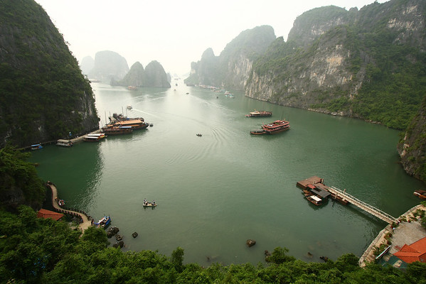 The boats dock there let people visit one cave and return to pick them up.