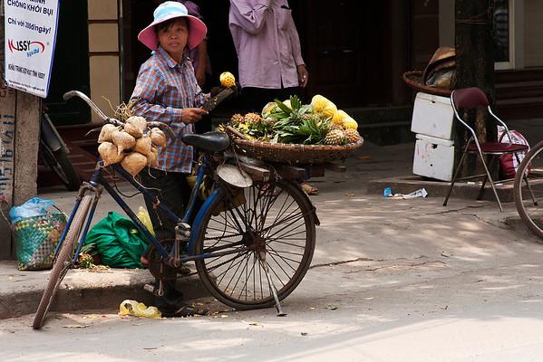 Mobile fruit seller.