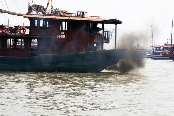 Boat in Ha Long Bay. Some of them are far from environmentally friendly but most looked fine.