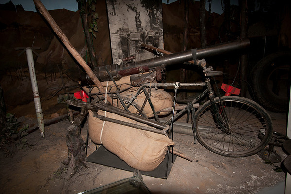 Modified bicycle to transport a mortar.
