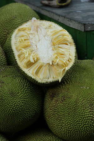 Jackfruit in section. Very good, although it reminded me of Durian in the first moment.