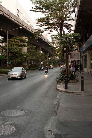 Skytrain track above the road. The best means of transport in city but doesn't cover many attractions.