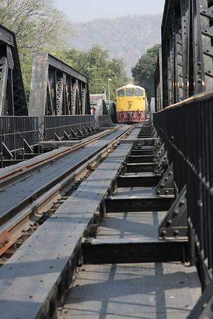 Tourist train crossing the bridge.