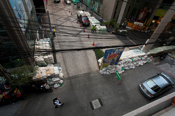 Bags with sand were still present on the streets after the flooding from October.