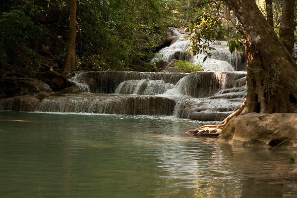 Erawan Waterfall comprised of seven waterfalls. This is the first one.