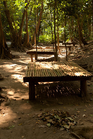 Bamboo benches in Erawan National Park.