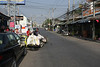Main road in Kanchanaburi, full of tourist stuff.