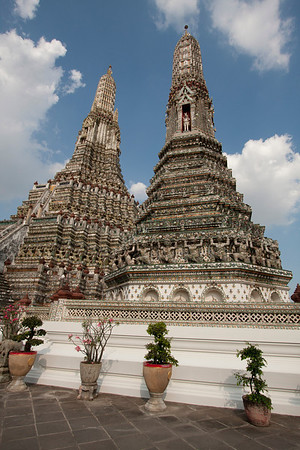 Wat Arun temples. You are allowed to climb the big one up to the last ring and get a nice view over Chao Praya river.