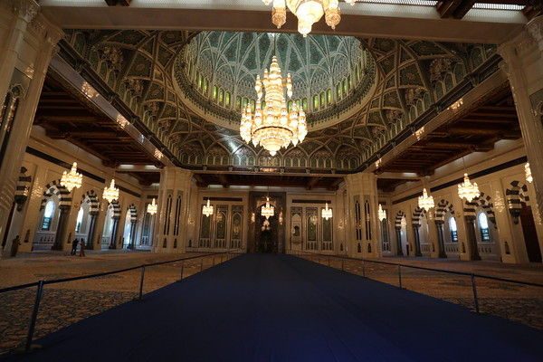 The prayer hall can accommodate up to 6,500 worshipers. The work to build the Mosque started in 1995 and took six years and 4 months. The carpet is the second largest single piece in the world and was produced in 4 years.