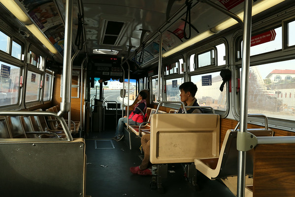 Time to take a bus and look for something to eat. All buses have a cable next to the windows. If you pull the bus will stop at next station.