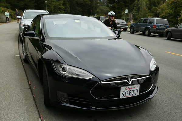 Tesla, full electric sports car. I've never seen one in Europe but here I've seen one almost every day.