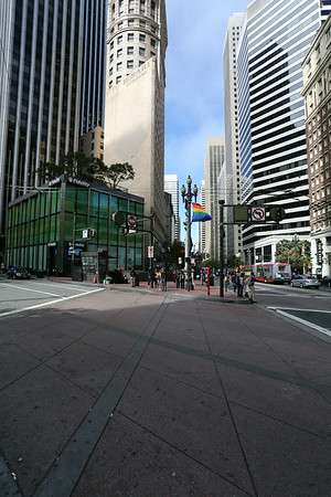 Most skyscrapers are downtown, on Market street.