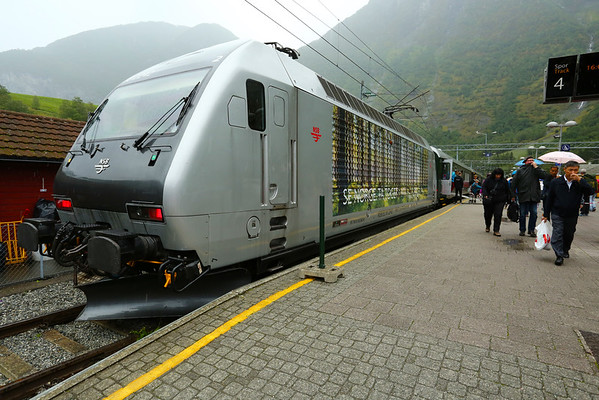 Train ready to take passengers on the Flåm Line. The length is 20 Km and comes with spectacular views and a maximum gradient of 5.5%. After the rain stopped a bit we decided to go by car on the same route.