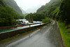 The road goes along the same valley as the train between Flam and Myrdal.