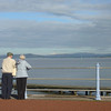 October 2013. Morecambe, Lancashire. Admiring the view north across the bay.