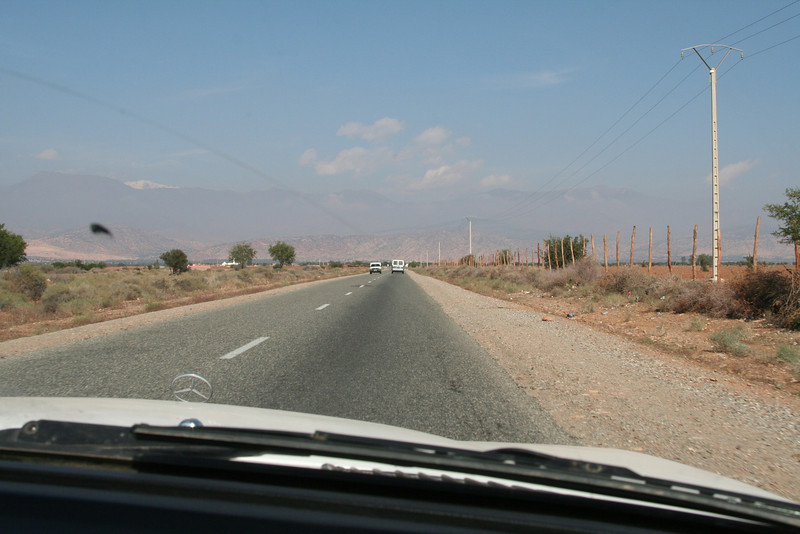 Approaching the Atlas Mountains for a stunning ride through the mountain pass.