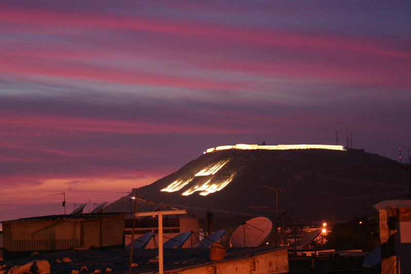 The Arabic script on the hill in Agadir. Unfortunately we got to Agadir a bit late and I missed the rest of the sunset which looked like it could have been spectacular.