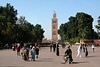 Looking from the Place Djemma El-Fna' towards the Koutoubia Mosque.