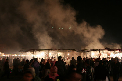 The steam and smoke rising off the food stands in the Place Djemma El-Fna' in Marrakech.