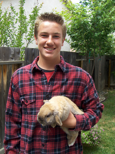 Blake and pumpkin...Delaney's rabbit she keeps at her Auntie Dana's.