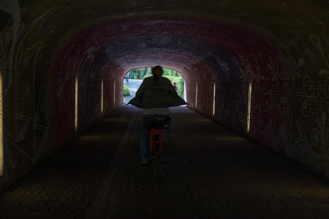 Kerstin in a tunnel