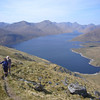 May 2011. Two figures in a landscape above Loch Quoich.