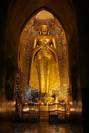 Inside Ananda temple, one of the largest in Bagan area.