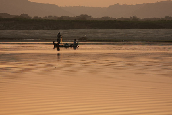 Sunset at Irrawaddy river.