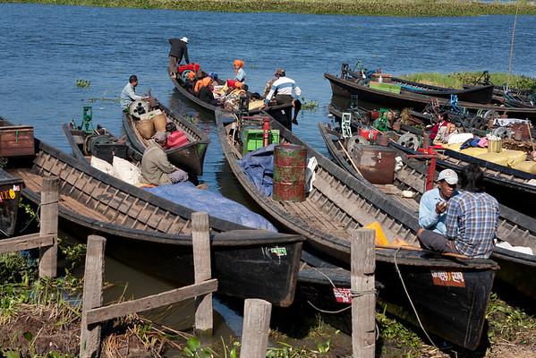 Boats near the market.