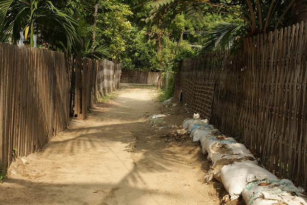 Sandbags were still present on some streets. The flooding that affected Thailand was also present on a much smaller scale in Burma.