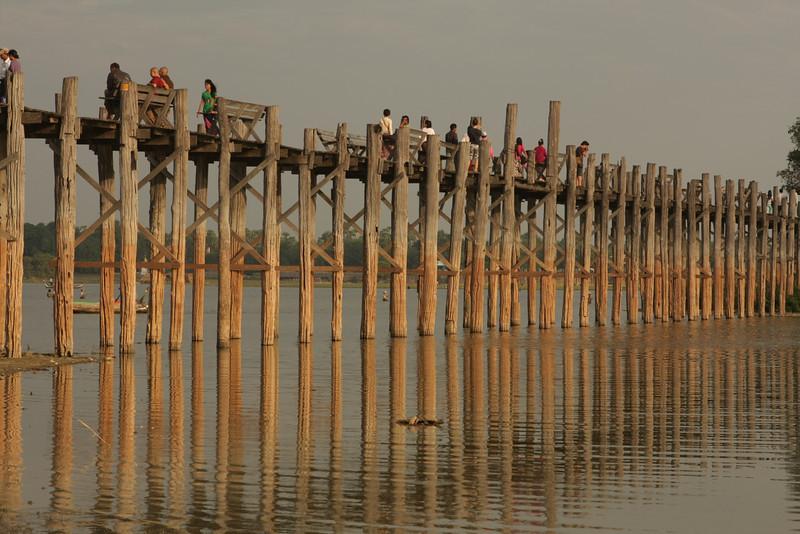 U Bein Bridge before sunset. It's the longest wooden bridge in the world having 1.2 km.