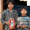 The kids with the oxes waited for us in the next village with flowers.