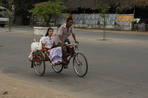 Rickshaw, less used in Yangon and more in remote places. One can easily transport 2 passengers.