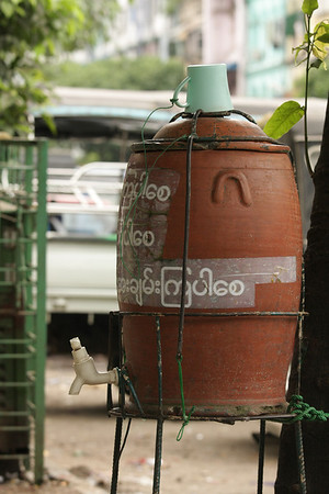 Free public water. In some places you can see big barrels with drinking water.