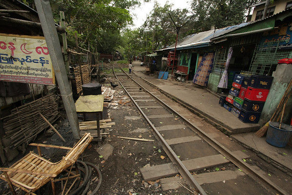 A poor area from Yangon, don't know if the train is still going this way or not.