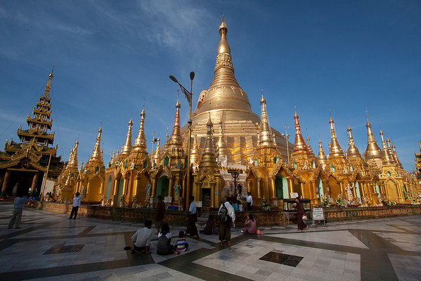 Shwedagon Pagoda, a landmark in Yangon. One of the most amazing places in the country. It's covered in gold and lots of people come here to walk or pray.