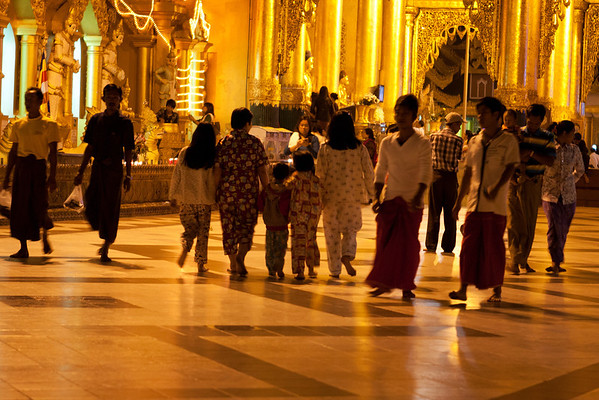 Family in pajamas, nothing uncommon in Asia.