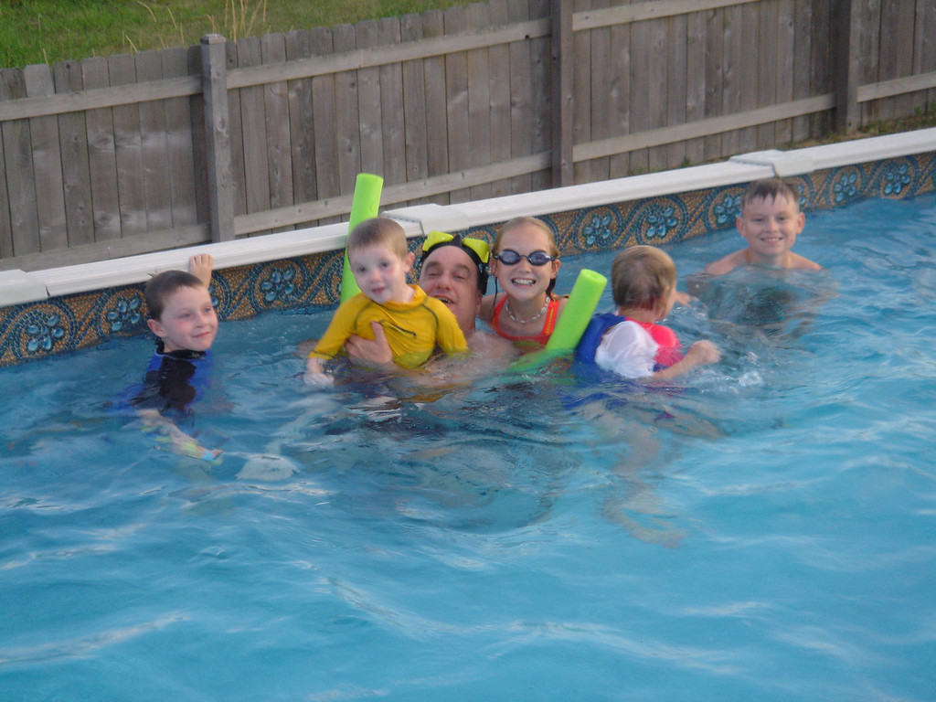 All the kids in pool
