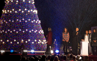 President Obama pushed the button and lights the National Christmas Tree
