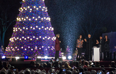 President Obama pushed the button to light the tree