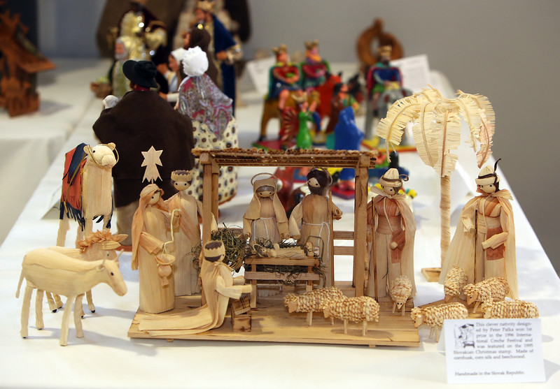 Nativity made from corn husk, cornsilk and beechwood, by Peter Palka of Slovak Republic. According to card, it won 1st prize in the 1996 International Creche Festival and was featured in 1995 on the Slovakian Christmas stamp. Annual display at St. Andrew's Episcopal Church in Ayer of parishioner Carolyn Smith's collection of Nativity creches. (SUN/Julia Malakie)